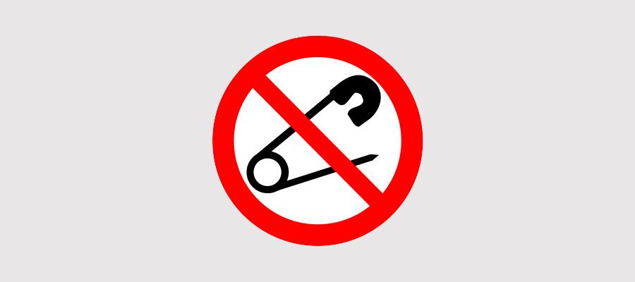 Het logo veiligheidsspeld verbodsbord verboden voor veiligheidsspelden is een geregistreerd merk van Globos Ballonnen